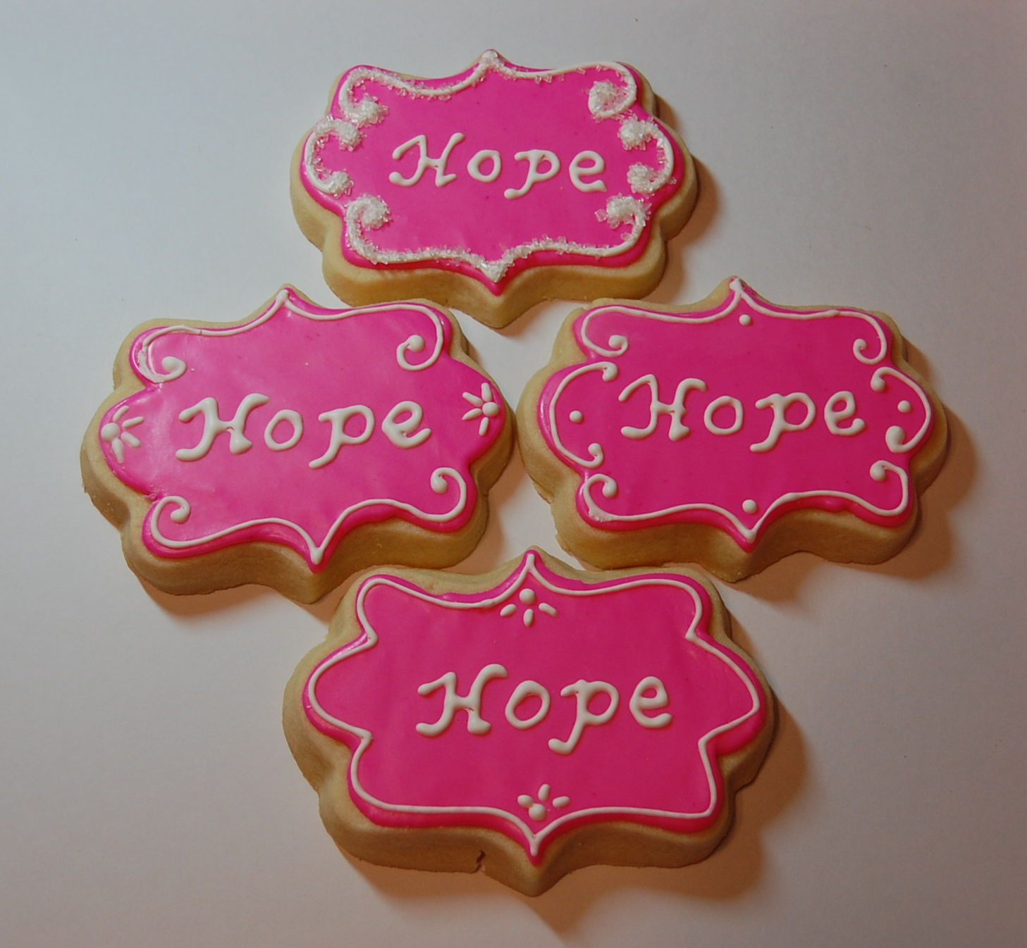 Hope Sugar Cookies - Breast Cancer Awareness