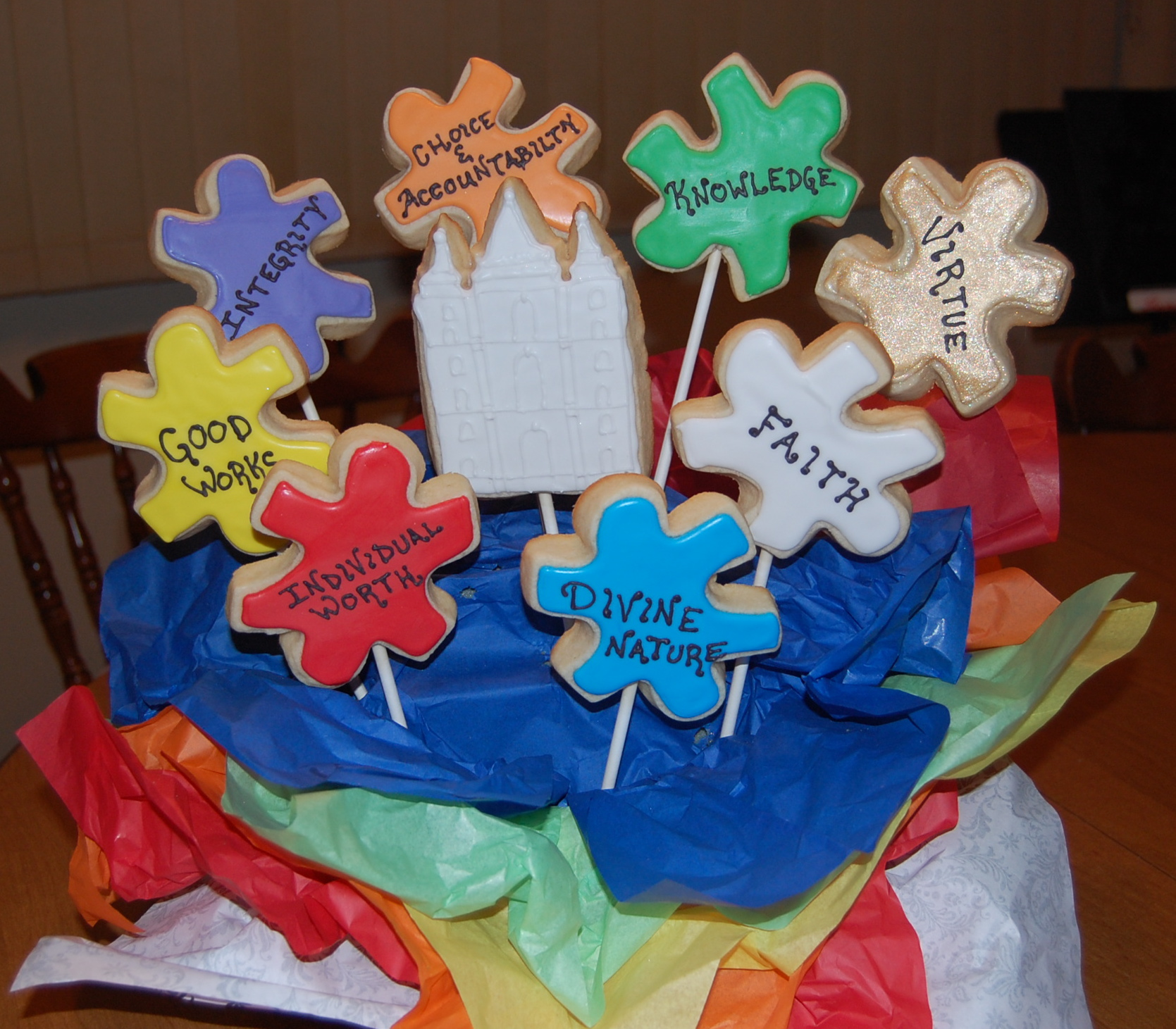 Young Women Values Sugar Cookie Bouquet