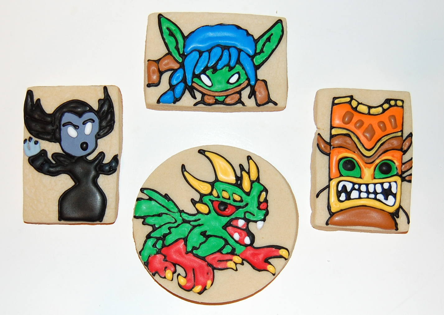 Skylander Characters Sugar Cookie - Stealth Elf, Double Trouble, Camo, and Hex